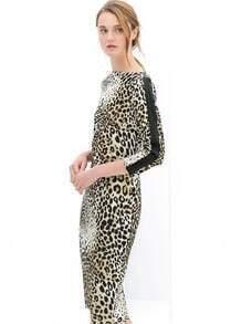 Leopard Round Neck Slim Bodycon Split Dress