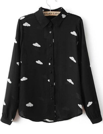 Black Lapel Long Sleeve Clouds Print Blouse