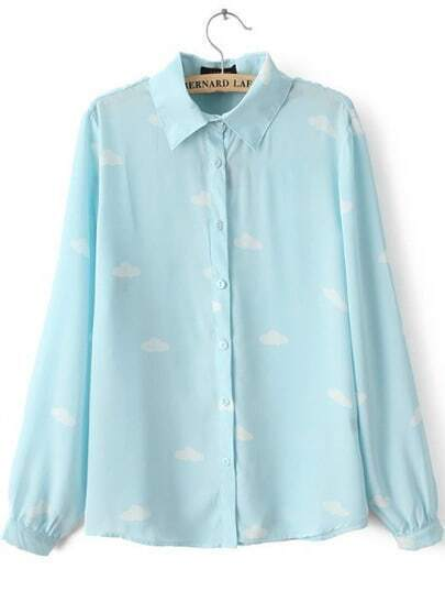 Blue Lapel Long Sleeve Clouds Print Blouse