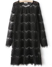 Black Long Sleeve Embroidered Lace Straight Dress