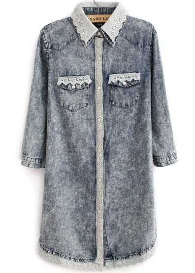 Blue Contrast Lace Lapel Pockets Denim Blouse
