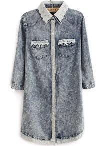 Blue Contrast Lace Lapel Pockets Denim Blouse
