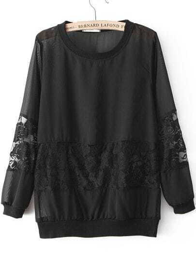 Black Contrast Lace Long Sleeve Chiffon Blouse