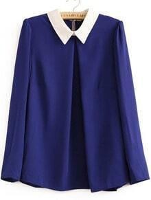 Blue Long Sleeve Contrast Collar Chiffon Blouse