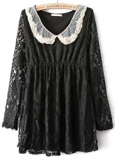 Black Long Sleeve Embroidered Lace Loose Blouse