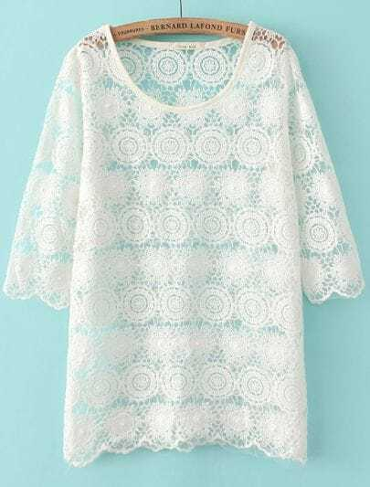 White Half Sleeve Hollow Lace Blouse