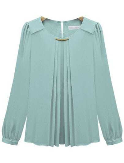 Blue Long Sleeve Metal Embellished Chiffon Blouse