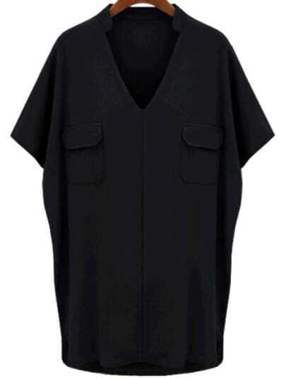 Black V Neck Short Sleeve Pockets Blouse