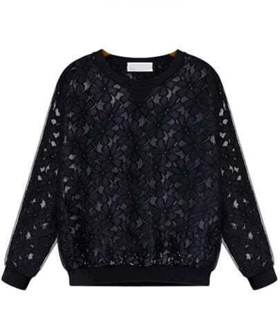 Black Long Sleeve Embroidered Lace Sweatshirt