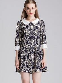 Blue Three Quarter Sleeve Vintage Pattern Lapel Dress