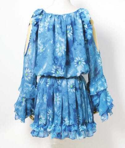 Blue Floral Pattern Reffle Chiffon Dress