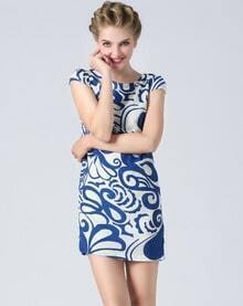 Blue Short Sleeve Vintage Pattern Dress