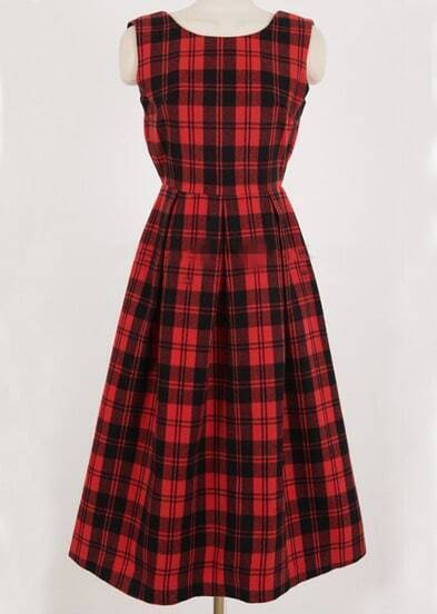 Red Plaid Backless Dress