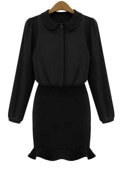 Black Long Sleeve Lapel Mermaid Dress