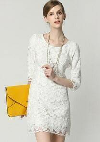 White Half Sleeve Lace Dress