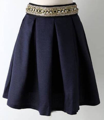 Navy Bead Ruffle Skirt