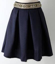 Navy Bead Ruffle Skirt