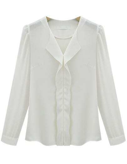 White Long Sleeve V Neck Ruffle Chiffon Blouse
