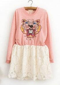 Pink Tiger Embroidery Contrast Hollow Lace Dress