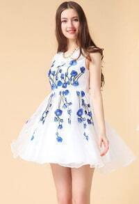 White Sleeveless Floral Embroidery Organza Dress