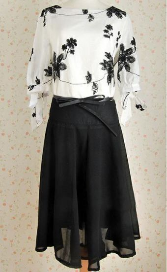 White Floral Print Blouse With Black Pleated Skirt