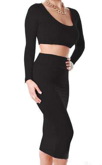 Black Crop Tee With Bodycon Skirt