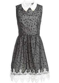 Black Sleeveless Polka Dot Lace Gauze Dress