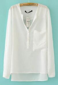 White Collarless Dipped Hem Long Sleeve Blouse with Front Pocket