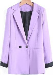 Purple Notch Lapel Long Sleeve Fitted Blazer