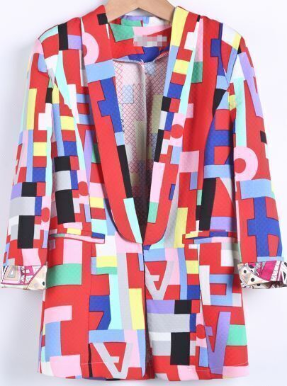 Red Long Sleeve Geometric Print Fitted Blazer