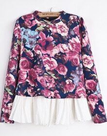 Blue Long Sleeve Rose Print Ruffle Blouse