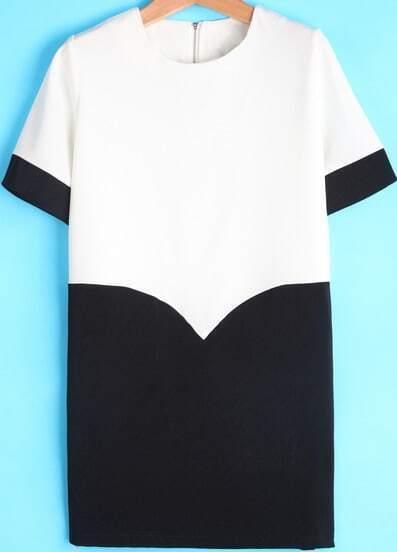 White Contrast Black Short Sleeve Loose Dress