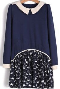 Navy Long Sleeve Contrast Bow Cat Print Dress