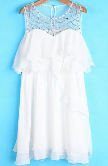 White Sleeveless Bead Ruffle Chiffon Dress