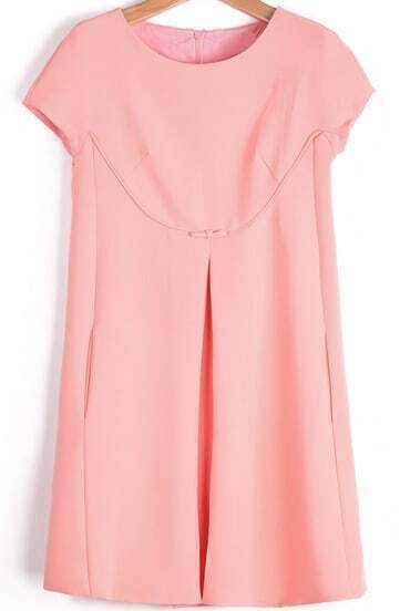 Pink Round Neck Short Sleeve Split Loose Dress