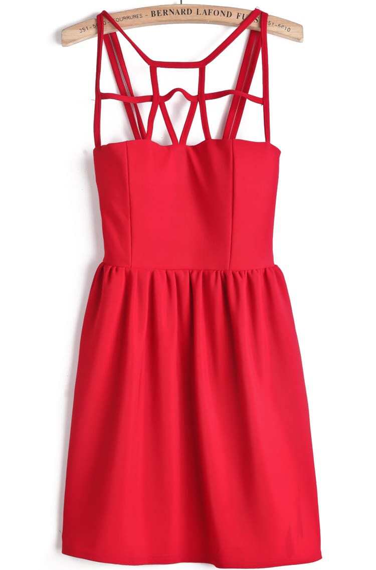 Red Spaghetti Strap Hollow Slim Dress -SheIn(Sheinside)