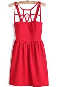 Red Spaghetti Strap Hollow Slim Dress