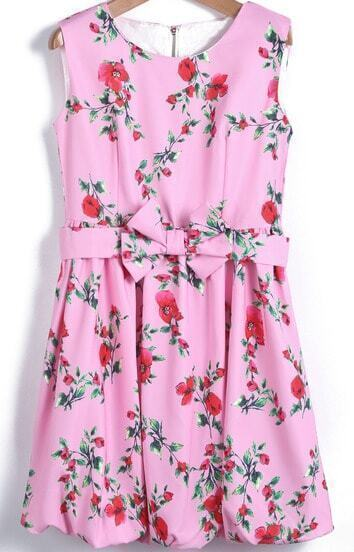 Pink Sleeveless Floral Bow Flare Dress