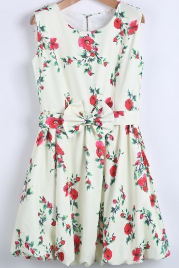 White Sleeveless Floral Bow Flare Dress