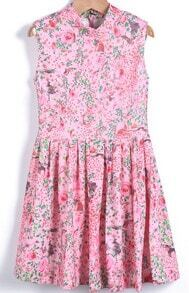 Pink Stand Collar Zipper Floral Pleated Dress