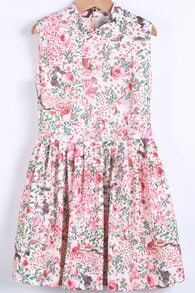 White Stand Collar Zipper Floral Pleated Dress