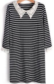 Black Contrast Lace Lapel Striped Slim Dress