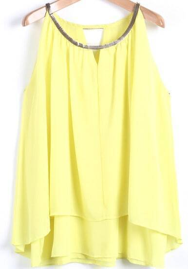 Yellow Metal Collar Sleeveless Loose Chiffon Vest
