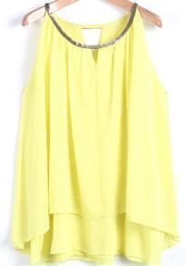 Yellow Metal Collar Sleeveless Loose Chiffon Vest