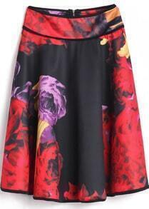 Red Black Floral Zipper Pleated Skirt