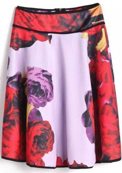 Red Purple Floral Zipper Pleated Skirt