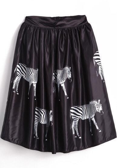 Black High Waist Zebra Print Pleated Skirt