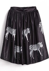 Black High Waist Zebra Print Pleated Skirt