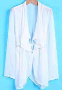 White Lapel Long Sleeve Loose Chiffon Tailcoat