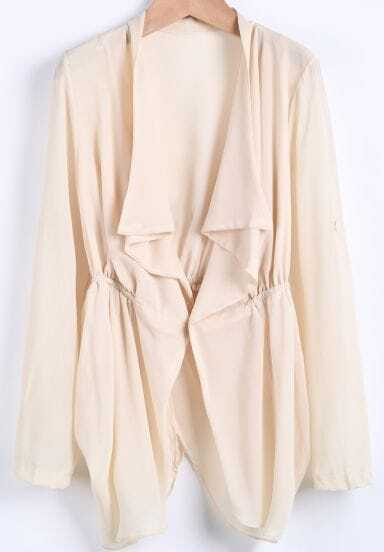Apricot Lapel Long Sleeve Loose Chiffon Tailcoat